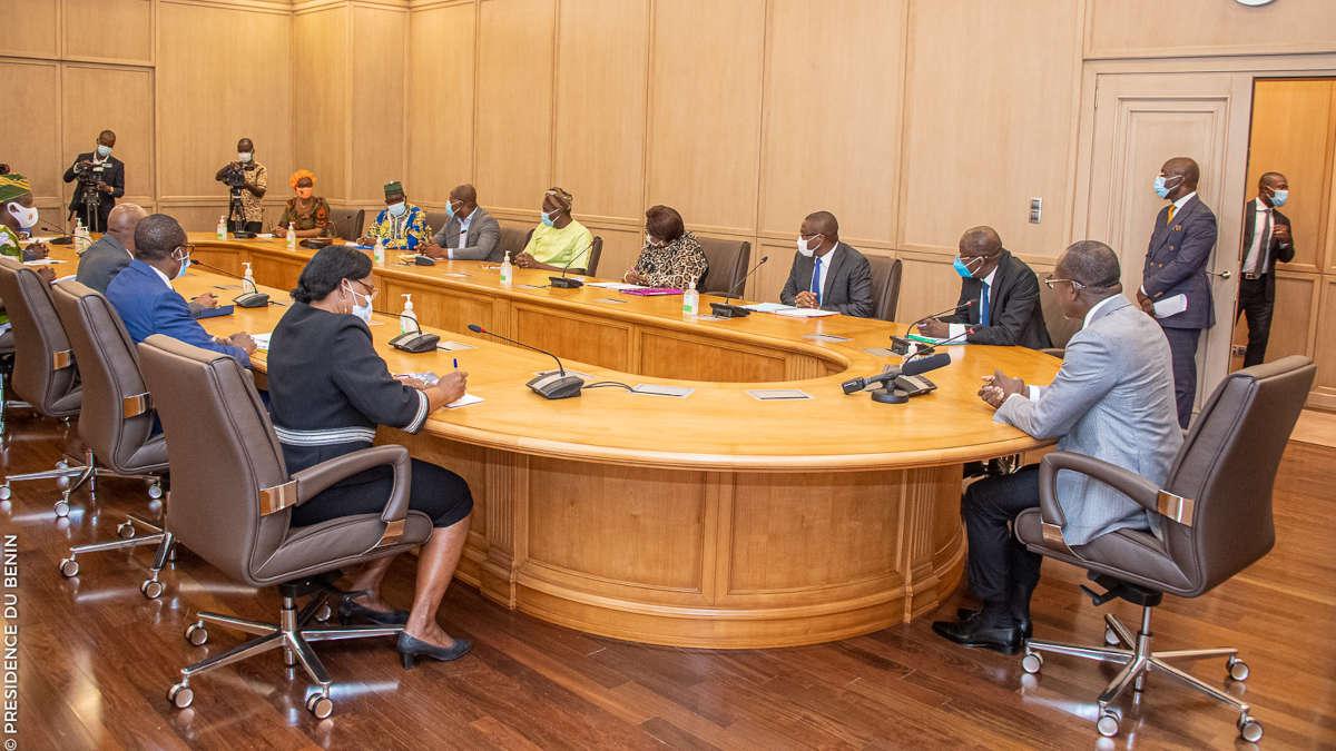 Recontre entre le Président Talon et les centrales syndicales. Photo : Présidence Bénin