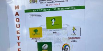 Maquette du bulletin de vote communales 2020 au Bénin