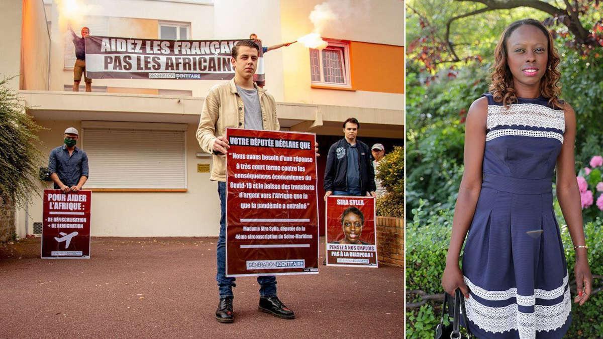 Les militants nationalistes de Génération identitaire ont mené une action contre la députée Sira Sylla. (Photo: AFP & Twitter)