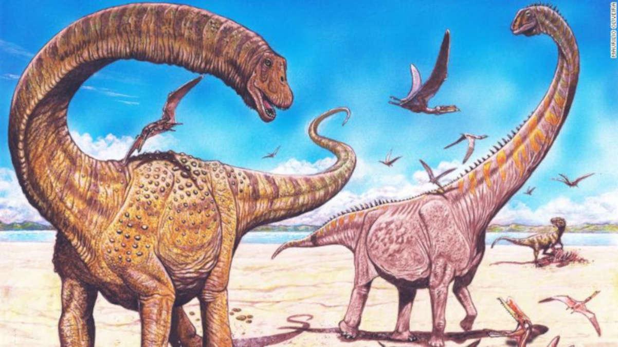 Illustration d'artiste de Hamititan xinjiangensis (à gauche) et de Silutitan sinensis (à droite). Photo: CNN