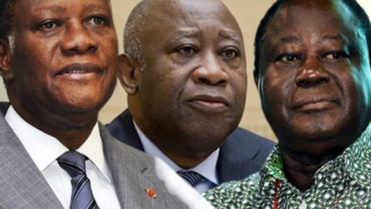 Alassane Outtara, Laurent Gbagbo et Henri Konan Bédié. Source : Lenouvelafrik.com